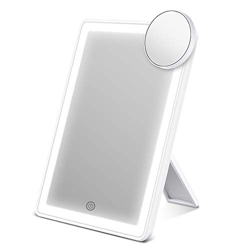 AEVO Makeup Mirror with Lights, Lighted Vanity Mirror with 72-LED Halo Lighting, Detachable 10× Magnification Mirror, Tricolor Lighting, Stepless Dimming, and Dual Power Options, Cosmetic Mirror