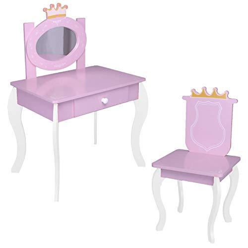 habeig Kinderschminktisch Kindertisch Prinzessin Kinder Mädchen Schminktisch für Kinder Frisiertisch (#012)