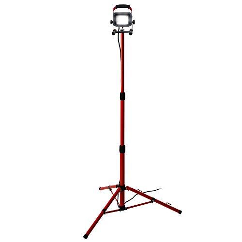 Luceco Slimline - Foco LED con trípode (22 W, IP65), color negro y rojo