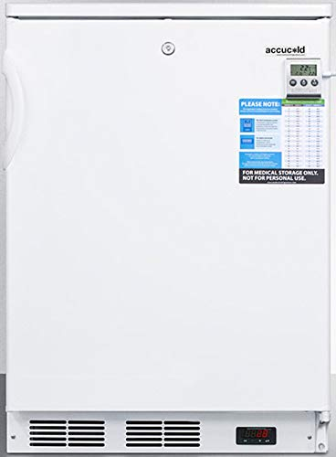 Summit Appliance FF7LWBIVAC Built-in Undercounter Medical All-Refrigerator for Temperature Stable Medical Storage with Interior Basket Drawers, Internal Fan, Lock, and White Exterior