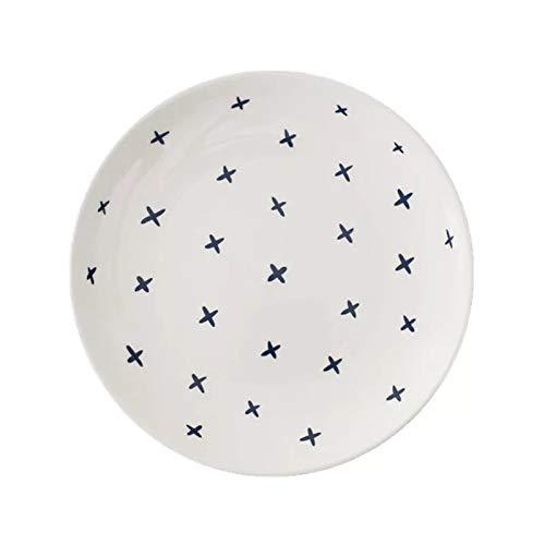 Pareja desayuno plato plato de cerámica bajo hueso china plato plato letras moda simple negro X 8 pulgadas