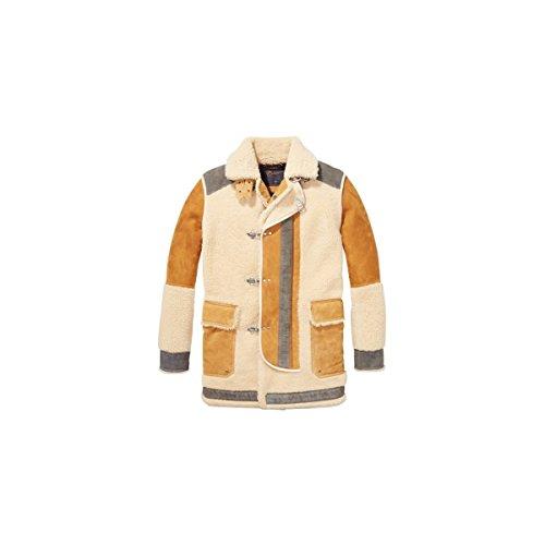 Scotch & Soda Herren Long Outdoor Jacket In Mix & Match Shearling and Suede Quali Lederjacke, Kombinieren Sie eine, Medium