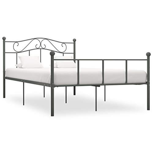 vidaXL Estructura de Cama Dormitorio Base Matrimonio Completa Armazón Adulto Adolescente Listones Interiores Soporte de Metal Gris 140x200cm