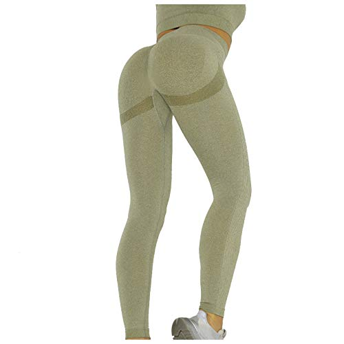Topkeal - Leggings para mujer, cintura alta, push-up, pantalones de yoga, pantalones de entrenamiento, pantalones largos para yoga, gimnasio, deporte, fitness, control de la barriga Verde militar. S
