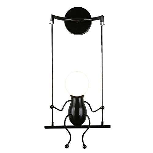 Hello Kinderwandleuchte, k Schaukel Lampe Moderne Schlafzimmer Wohnzimmer Kinderzimmer Gang Flur Balkon Beleuchtung Geburtstagsgeschenk (Color : Black, Design : A)