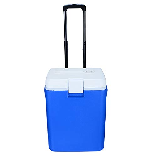Draagbare mini-koelkast, 30 liter, trekstang, wielen rollen, auto-koelkast voor buiten, auto thuis met dubbele gebruiksdoeleinden, grote elektronische koelkast, blauw