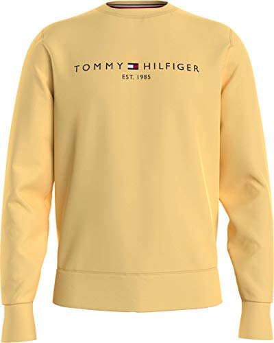 Tommy Hilfiger Tommy Logo Sweatshirt Felpa con Cappuccio, Giallo Delicato, L Uomo