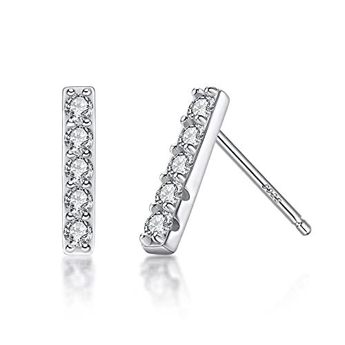 yuge Pendientes de plata de ley 925 pendientes femeninos de estilo simple, adecuados para exquisitos regalos de joyería Blanco