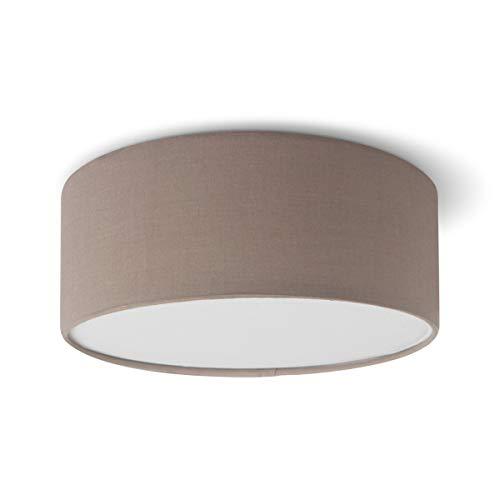 Lámpara de techo Noon 24   E27   apta para bombillas led hasta un máx. de 40 W (no incluida)   Beige  lámpara de techo con pantalla integrada   24 cm de diámetro altura de 10 cm   certificado Dekra
