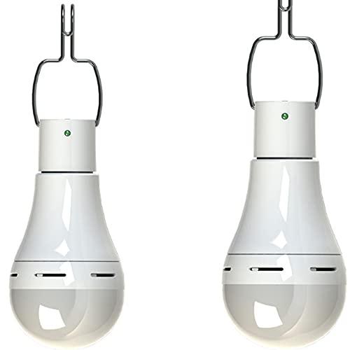 Luz LED para acampar con control remoto, USB, luz colgante de tienda impermeable, control remoto solar de 7 W [interruptor inteligente, luz blanca fría]