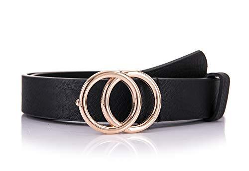 irisaa Schmaler Damen Gürtel mit runder Metallschnalle zwei Ringen, Hüftgürtel Taillengürtel mit Ringschnalle, ca. 3 CM breit, Farbe:schwarz, Länge:95