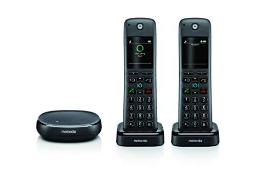 Motorola AHX02 Teléfono Inalámbrico Inalámbrico con Alexa Incorporado, Dos Auriculares