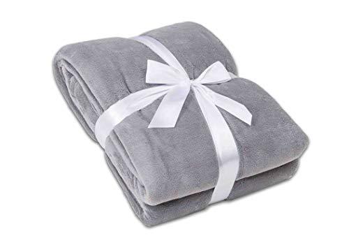 myHomery Ärmeldecke Silber 150x180 cm - Kuscheldecke XL - TV-Decke mit Ärmeln - Fleecedecke als Geschenk - Sofadecke mit Taschen für IPad Fernbedienung und Füße