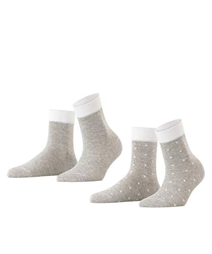 ESPRIT Damen Socken Small Dots 2er Pack - 80% Baumwolle, 2 Paar, Grau (Light Grey 3400), Größe: 39-42