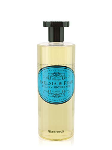 Naturally European Freesia & Pear Body Shower Gel   No SLS and Parabens   Cleansing and Moisturising Lotion