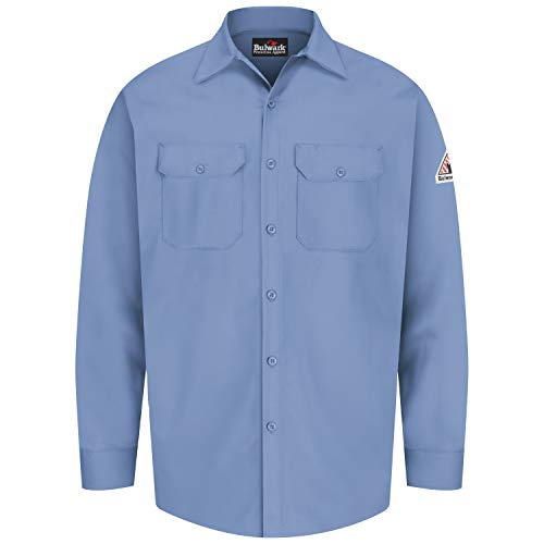 Product Image of the Bulwark Men's Flame Resistant 7 oz Cotton Work Shirt with Sleeve Vent, Light Blue, 2X-Large