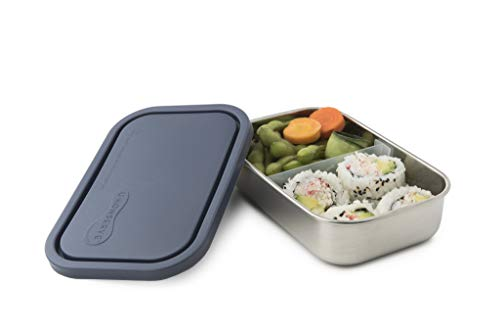 U-Konserve Divided Rectangle Stainless Steel Bento Box Lunch Container 25oz - Ocean Airtight Lid - Removable 2-Section Divider - Dishwasher Safe - BPA Free