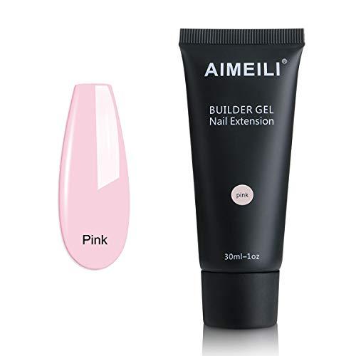 AIMEILI Builder Gel Nail Extensión Esmaltes Semipermanentes de Uñas Gel Construcción Consejos para uñas Rápida Molde Finger UV LED - Pink (30ml 1oz)