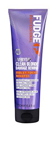 Fudge Professional Purple Shampoo, Everyday Clean Blonde Damage Rewind Gradual Toning für blondes Haar, 250 ml