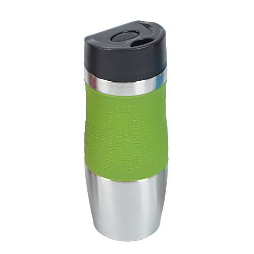 Ocean5 Thermobecher, Kaffeebecher aus Edelstahl mit Einhandbedienung, 380ml, Coffee to go auf Knopfdruck genießen, Reisebecher BPA-frei, Thermo Travel Mug, Farbe: grün