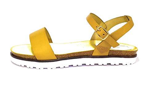 Plamta Bio al Tono Sandale, mit Armband Schnalle 100% Made in Spain, Gelb - gelb - Größe: 39 EU