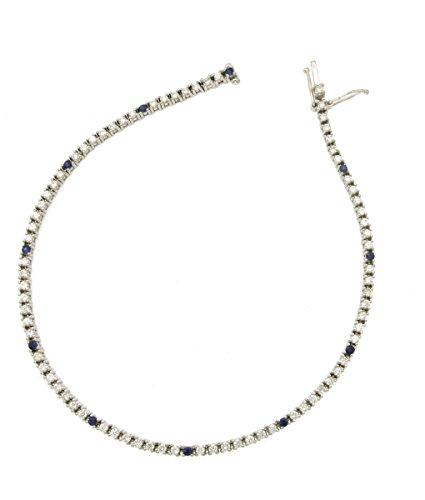 Bracciale Tennis da uomo in oro bianco 750 18kt con diamanti e zaffiri - N262