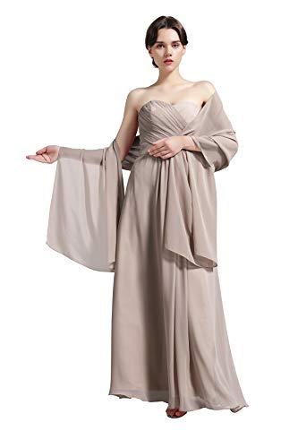 Sheer Soft Chiffon Bridal Women's Shawl For Special Occasions Khaki