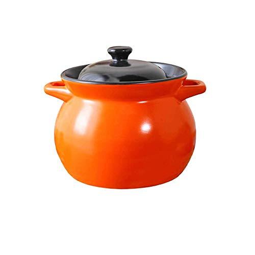 HIZLJJ Cerámica Tradicional Olla de arroz con Tapa, Loza de Barro for cocinar arroz, Sopa de cazuela, Fuego, Alta Temperatura, cerámicos de Uso doméstico Salud cazuela