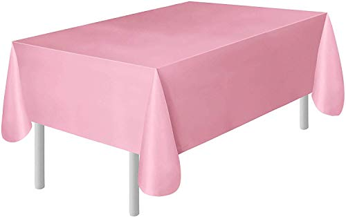 Occasions 6-Pack Pink Plastic Tablecloth   Plastic Table Cover   Disposable Tablecloths 54 x 108 Table Cloth 100% Recyclable   Great for Party, Wedding, Reception, Baby Shower, Birthday