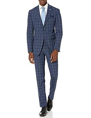 Original Penguin Men's Two Piece Slim Fit Suit, Blue Tartan, 38 Regular from Original Penguin