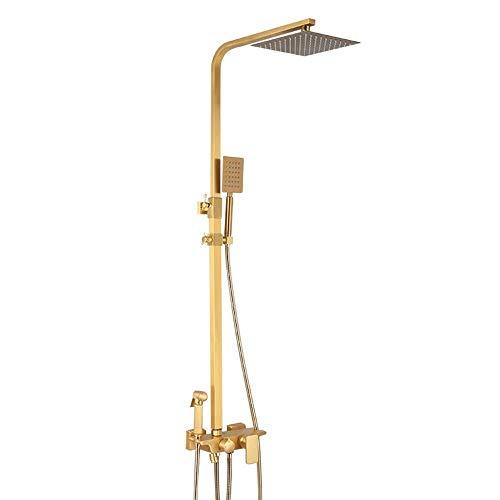 BINGFANG-W Latón de metal cepillado baño de oro juego de ducha de pared de ducha de mano Conjunto bidé Booster Boquilla Grifo europea superior cuadrada spray 4 Función Hermoso práctica Ducha