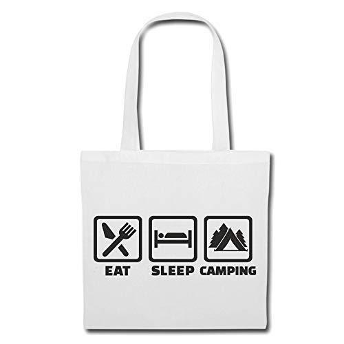 Tasche Umhängetasche Camping Essen - ZELTEN - WOHNMOBIL - Urlaub - Zelt Einkaufstasche Schulbeutel Turnbeutel in Weiß