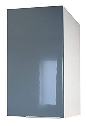 Berlioz Creations CP4HG Meuble Haut de Cuisine 1 Porte Gris Haute Brillance 40 x 34 x 70 cm