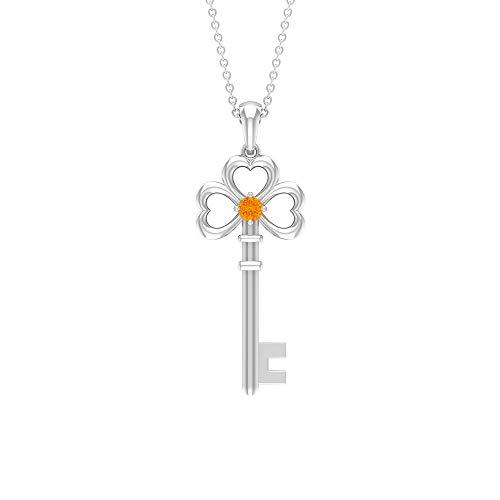 Colgante de zafiro naranja de 0,12 quilates, collar de oro con llave de corazón (3 mm redondo de zafiro naranja creado en laboratorio) naranja