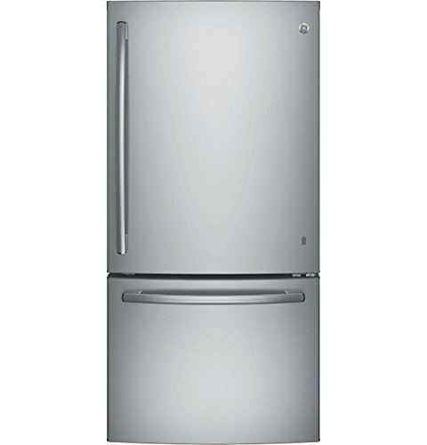 GE GDE25ESKSS 33 Inch Bottom Mount Refrigerator with 24.9 cu Adjustable Glass Shelves, Gallon Storage, Snack Drawer,Factory Installed Ice Maker and Energy Star Qualified in Stainless Steel