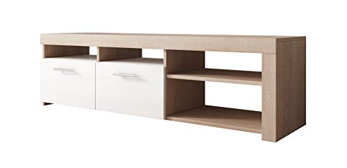 Mueble TV Modelo Clio (140x40cm) Color Sonoma y Blanco