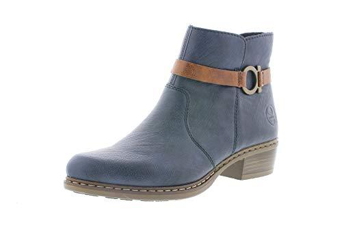 Rieker Damen Stiefeletten, Frauen Ankle Boots, Ladies feminin elegant Women's Women Woman Freizeit leger Stiefel,Blau(Ozean),37 EU / 4 UK