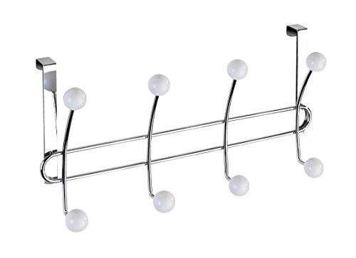 WENKO Türgarderobe Lissa - Hakenleiste mit 8 Haken, für Türfalzstärken bis 2 cm, Stahl, 35 x 18 x 6.5 cm, Chrom