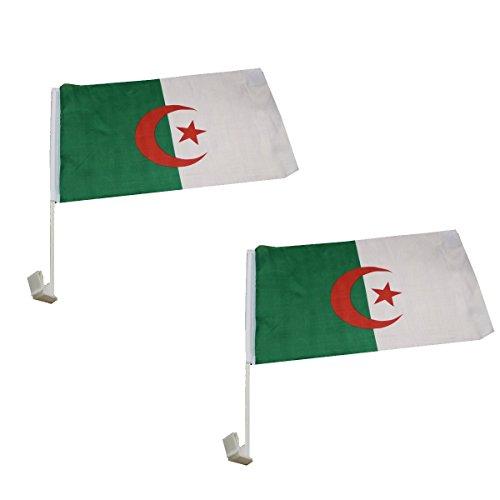 Sonia Originelli 2er Set Auto Flagge Fahne WM Länder Fußball Fan Farbe Algerien