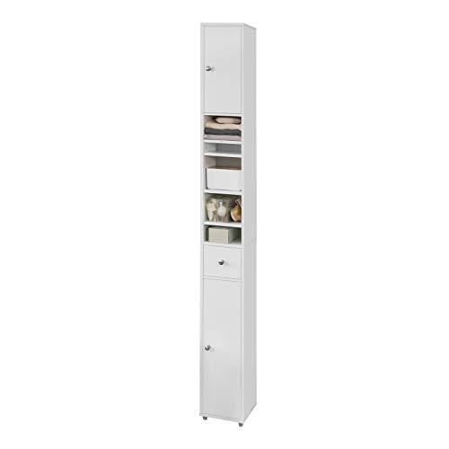 SoBuy BZR34-W Meuble de Rangement Salle d Bain Meuble Colonne Armoire de Toilette Meuble WC L20xP20xH180cm – Blanc