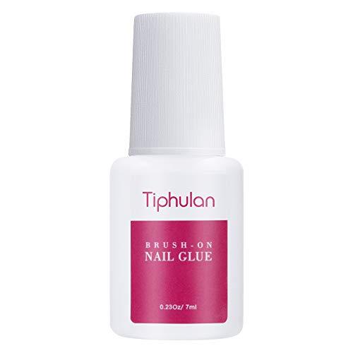 Tiphulan Brush on Nail Glue for Broken Nails - Nail Glue for Acrylic Nails & Press on Nails, Quick & Strong False Nail Tip Glue, 1pcs Adhesive Super Nail Bond, Nail Glue Bulk for Fake Nails 7ML/0.23OZ
