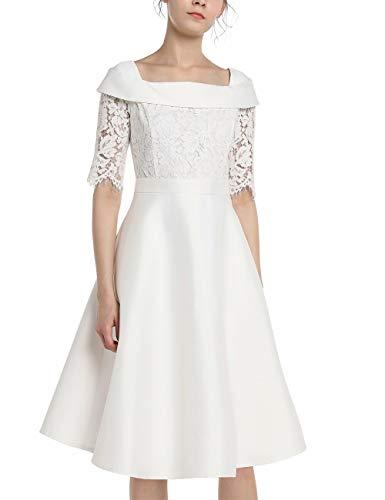 APART Elegantes Damen Kleid, Brautkleid, Spitzenkleid, mit Satin, halblange Ärmel, Quarrée-Kragen, glockiger Rock, Taillenband, Creme, 34