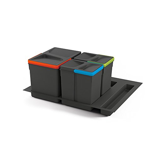 Emuca - Abfallsammler für schublade, Müllbehälter mit zuschneidbaren Basis, Kit aus Eimer mit höhe 216mm mit Basis 60cm