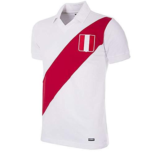 Copa de Fútbol –Camiseta retro Perú años 70, Hombre, blanco