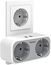 TESSAN USB Stopcontact, Stekkerdoos dubbel, 2 Stopcontacten met 2 USB Poorten, 4 in 1 Stekkeradapter met USB Oplader, Dubbele Stekker compatibel met Phone, voor Kantoor, Thuis, Reis