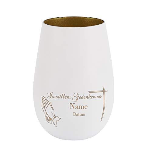 private grief Trauer-Windlicht mit Gravur als Trost für Hinterbliebene mit dem Namen des Verstorbenen Weiß