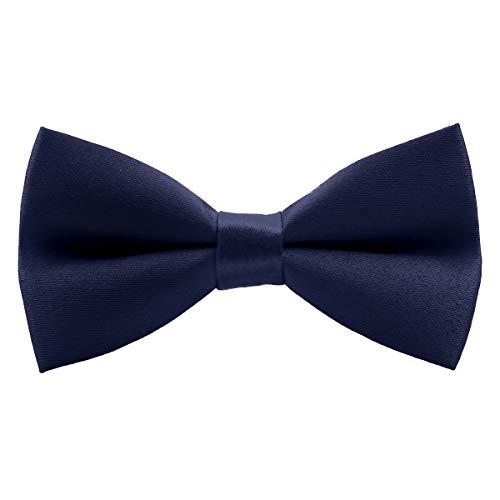 Wirarpa Small Pre-tied Bow Tie for Boys Kids Ties Clip On Formal Solid Tuxedo Bowtie Adjustable Deep Blue