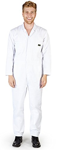 NATURAL WORKWEAR - Mens Long Sleeve Basic Blended Coverall, White 38879-Large