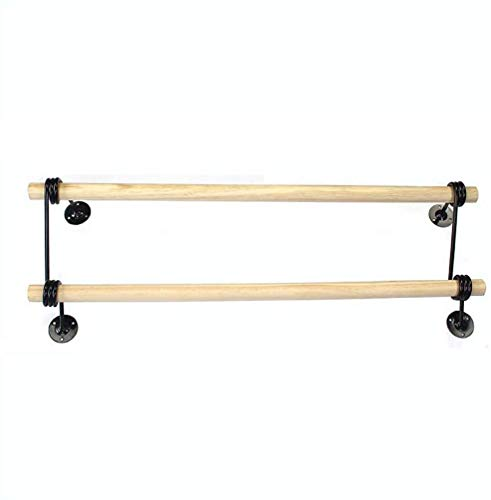 ZXYY Kleding Rek Jas Rack Kleding Winkel Display Rek Hanger Retro Effen Hout Dubbele Paal Zijwaarts Opknoping Display Plank Wandmontage Opknoping (Maat: 60CM)