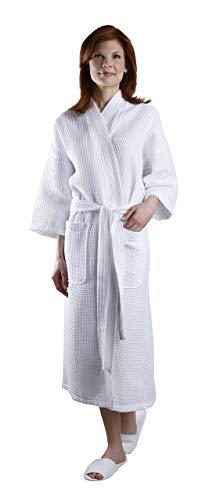 Square Waffle Spa Kimono Robe - Soft Light Hotel Bathrobe By Monarch/Cypress